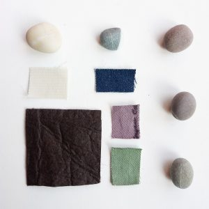 Pinatex and organic cotton moodboard inspired by nature sustainability